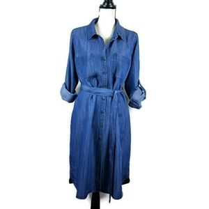Soft Surroundings Blue Chambray  Shirt Dress